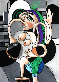 Almost Nude Woman With Tambourine 2019 24x18 Original Painting - Anthony Falbo