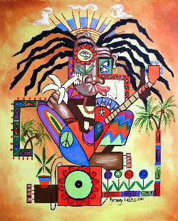 Ya Mon 2, No Steal Drums 2010 50x40 Huge Original Painting - Anthony Falbo