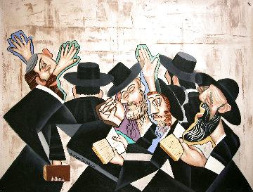 Praying Rabbis 2010 35x46 Huge Original Painting - Anthony Falbo