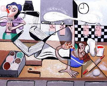 Pizza Break 2009 24x30 Original Painting - Anthony Falbo