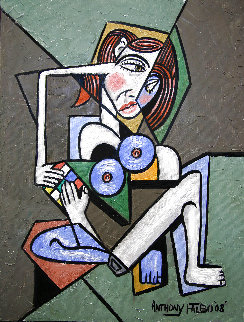 Nude Woman With Rubik's Cube 2008 24x18 Original Painting - Anthony Falbo