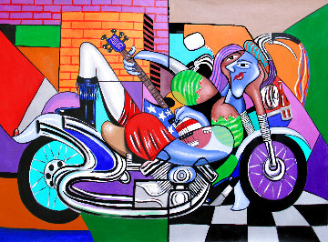 Motorcycle Mama, Play Me a Song 2015 51x38 Huge Original Painting - Anthony Falbo