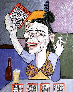 Bingo Lady 2009 30x24 Original Painting - Anthony Falbo