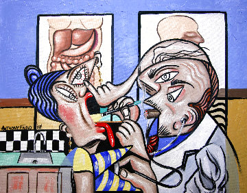 Cubist Doctor, MD 2008 24x30 Original Painting - Anthony Falbo