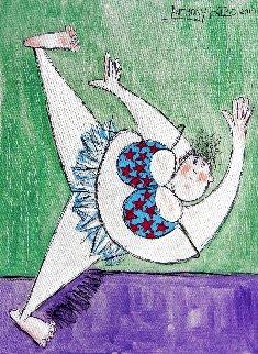 Retired Ballerina Stretching 2019 20x12 Original Painting - Anthony Falbo