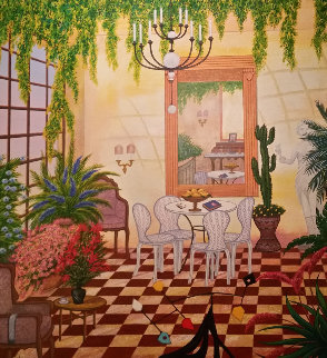 Interior With Greek Sculpture 1998 39x38 Original Painting - Fanch Ledan