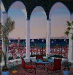 Atrium Sur St. Tropez 1999 32x32 Original Painting - Fanch Ledan
