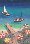 Swimming in the Med 2008 21x14 Original Painting - Fanch Ledan