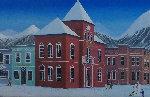 Aspen Village 2004 21x45 Original Painting - Fanch Ledan