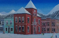 Aspen Village 2004 21x45 Huge Original Painting by Fanch Ledan - 0