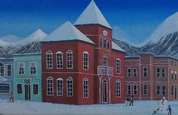 Aspen Village 2004 21x45 Huge Original Painting - Fanch Ledan