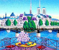 Paris Pont Des Arts 2001 Embellished  (Notre Dane) Limited Edition Print by Fanch Ledan - 0