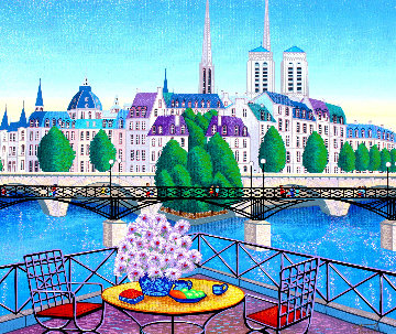 Paris Pont Des Arts 2001 Embellished  (Notre Dane) Limited Edition Print by Fanch Ledan