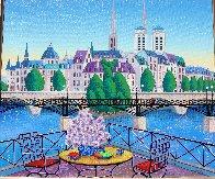 Paris Pont Des Arts 2001 Embellished  (Notre Dane) Limited Edition Print by Fanch Ledan - 2