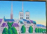 Paris Pont Des Arts 2001 Embellished  (Notre Dane) Limited Edition Print by Fanch Ledan - 5