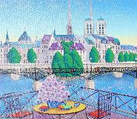 Paris Pont Des Arts 2001 Embellished  (Notre Dane) Limited Edition Print by Fanch Ledan - 3