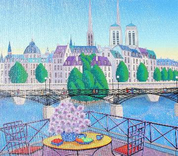 Paris Pont Des Arts 2001 Embellished   Limited Edition Print - Fanch Ledan
