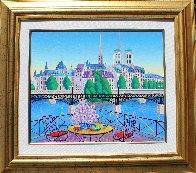 Paris Pont Des Arts 2001 Embellished  (Notre Dane) Limited Edition Print by Fanch Ledan - 1