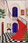 Interior With Red Staircase 2000 Limited Edition Print - Fanch Ledan