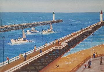 Untitled Harbor - Seascape 20x28 Original Painting by Fanch Ledan