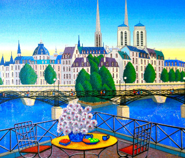 Paris Pont Des Arts 2001 Embellished Limited Edition Print - Fanch Ledan