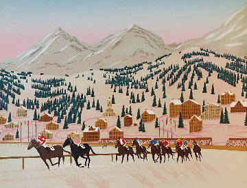 Horse Racing in St. Moritz Limited Edition Print - Fanch Ledan