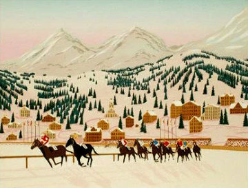 Horse Racing in St. Moritz 1987 Limited Edition Print by Fanch Ledan