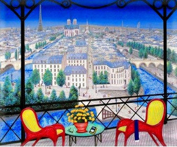 Over Ile St. Louis EA 2002  Paris and Notre Dame Limited Edition Print - Fanch Ledan