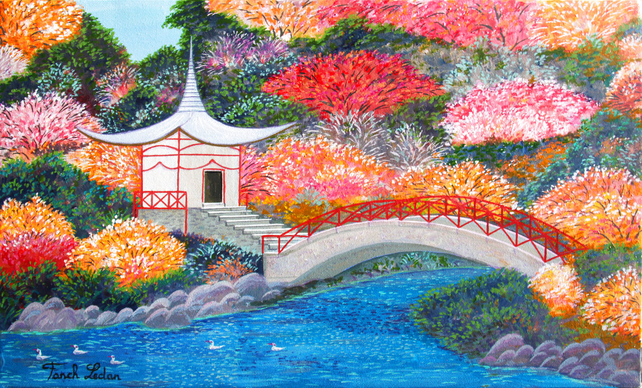 Japanese Garden 2019 11x18 Original Painting by Fanch Ledan