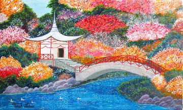 Japanese Garden 2019 11x18 Original Painting - Fanch Ledan