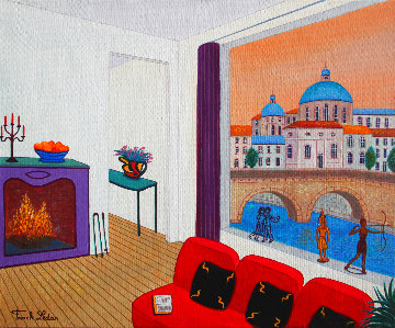 Loft in Rome 2018 15x18 Original Painting - Fanch Ledan