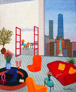 New York Vista 2019 18x15 Original Painting - Fanch Ledan