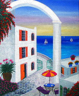 Terrace on Agean 2020 13x16 Original Painting - Fanch Ledan
