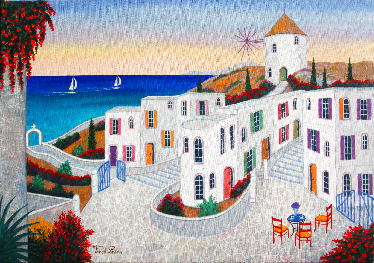 Village in Cyclades 2020 15x22 Original Painting by Fanch Ledan