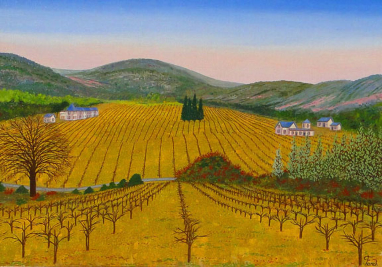 Vineyard 1975 14x20 Original Painting by Fanch Ledan