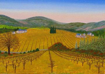 Vineyard 1975 14x20 Original Painting by Fanch Ledan