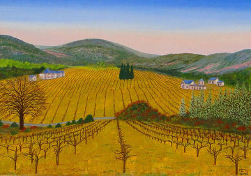 Vineyard 1975 14x20 Original Painting - Fanch Ledan