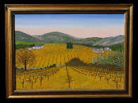 Vineyard 1975 14x20 Original Painting by Fanch Ledan - 1