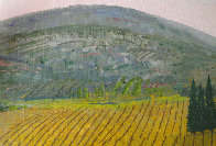 Vineyard 1975 14x20 Original Painting by Fanch Ledan - 3