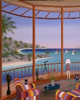 Salon in the Morning 2007 26x32 Original Painting by Fanch Ledan - 2