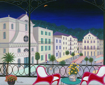 Nice Market Hall, France 2005 26x32 Original Painting - Fanch Ledan