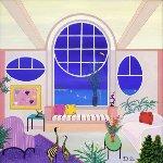 Pink Interior 23x23 Original Painting - Fanch Ledan