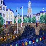 Bastille Day, Paris France 1998 20x20 Original Painting - Fanch Ledan