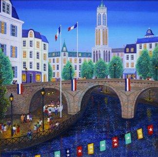 Bastille Day, Paris France 1998 20x20 Original Painting by Fanch Ledan