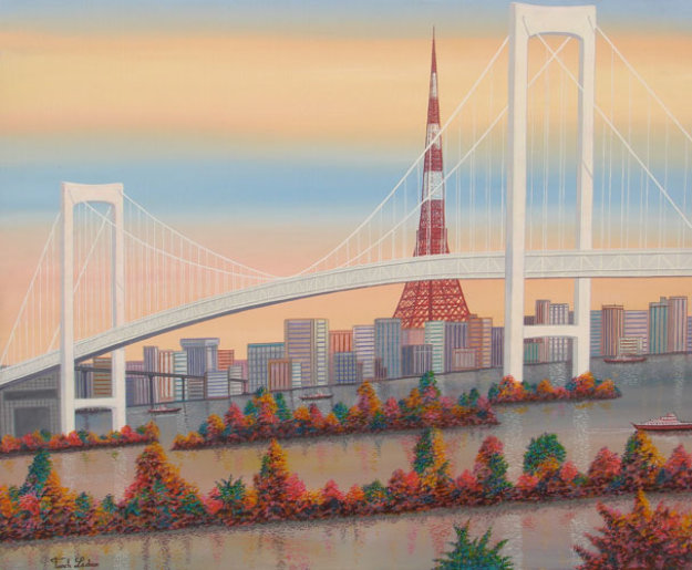 Odaiba, Paris, France 1992 24x49 Original Painting by Fanch Ledan