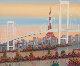 Odaiba, Paris, France 1992 24x49 Original Painting - Fanch Ledan