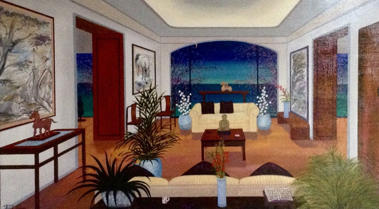 Interior Oriental 1993 27x45 Huge Original Painting by Fanch Ledan