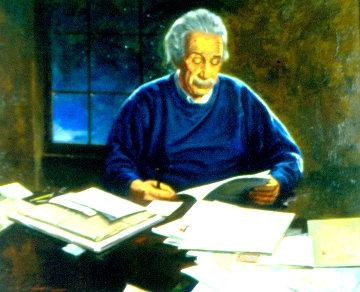 Portrait of Albert Einstein 21x25 Original Painting - Jack Faragasso
