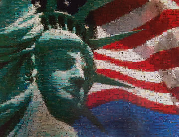 Statue And Flag Limited Edition Print by Neil J. Farkas