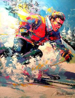 Untitled (Skier) 2007 45x35 Huge Original Painting - Malcolm Farley